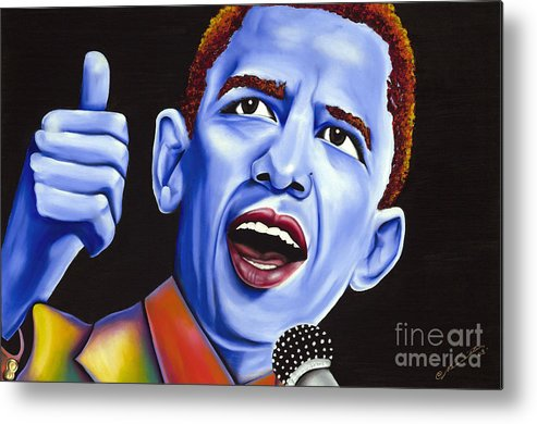 Barack Obama Metal Print featuring the painting Blue Pop President Barack Obama by Nannette Harris