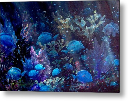 Blue Tang Metal Print featuring the painting Blue Tang Sea Fan  by Ana Bikic