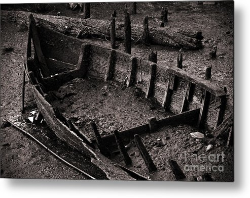 Abandon Metal Print featuring the photograph Boat Remains by Carlos Caetano