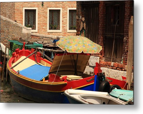 Venice Metal Print featuring the photograph Boat With Umbrella On Canal In Venice by Michael Henderson
