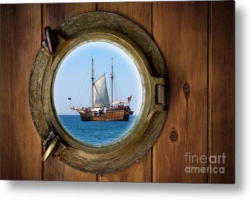 Aged Metal Print featuring the photograph Brass Porthole by Carlos Caetano