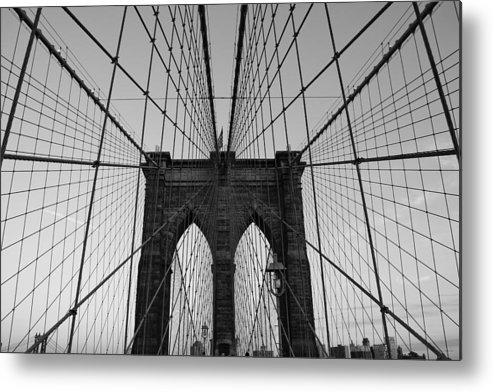 Brooklyn Bridge Metal Print featuring the photograph Brooklyn's Web by Joshua Francia