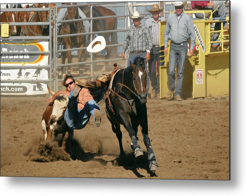 Cowboy Metal Print featuring the photograph Bulldogging At The Rodeo by Christine Till