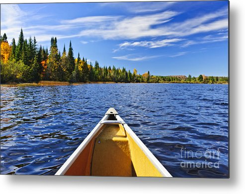 Canoe Metal Print featuring the photograph Canoe Bow On Lake by Elena Elisseeva