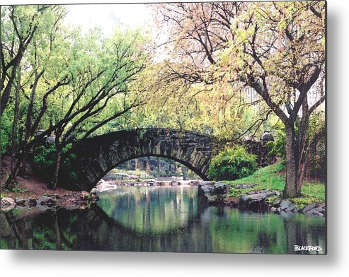 Central Park Metal Print featuring the digital art Central Park Bridge by Al Blackford