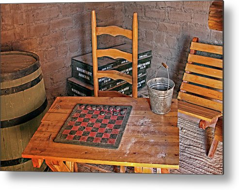Historical Metal Print featuring the photograph Checkers Anyone by Linda Phelps