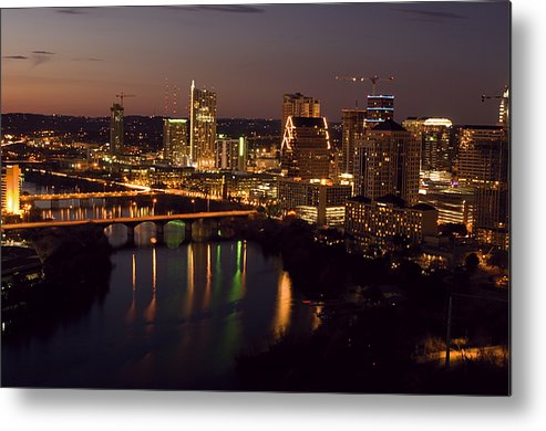 Austin Metal Print featuring the photograph City Of Austin At Dusk by David Thompson