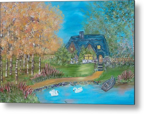Cottage Metal Print featuring the painting Country Cottage by Mikki Alhart