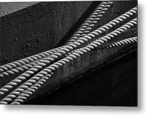 Rope Mooring Dock Line Ship Boat Water River Hull Paint Ropes Metal Print featuring the photograph Crossed Ropes by William Haney