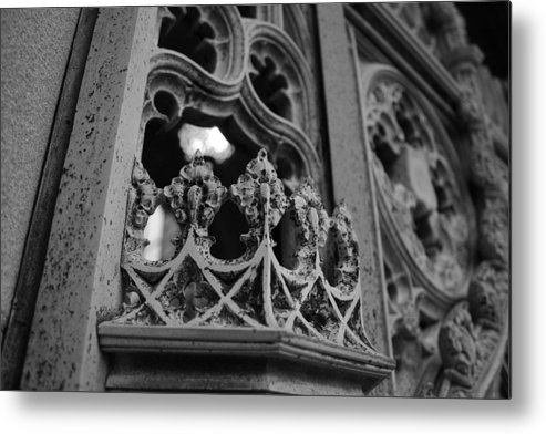 Black And White Metal Print featuring the photograph Crowned Entrance by Alyson Therrien