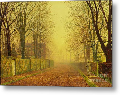 The Fall Metal Print featuring the painting Evening Glow by John Atkinson Grimshaw