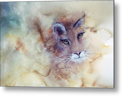 Cougar Face Metal Print featuring the painting Face With In by Lynne Parker