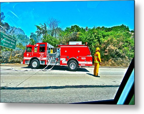Fire Metal Print featuring the photograph Fire On The 405 by Jeremy Stewart