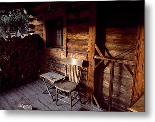 Outdoors Metal Print featuring the photograph Firewood And A Chair On The Porch by Joel Sartore