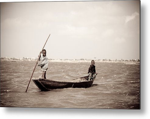 Benin Metal Print featuring the photograph Fisherboys II by Irene Abdou