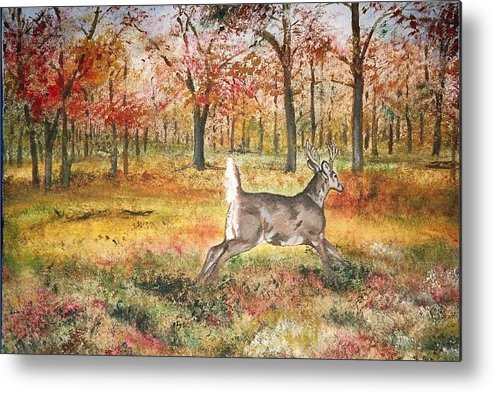 Fall Colors Metal Print featuring the painting Flag by Debra Sandstrom