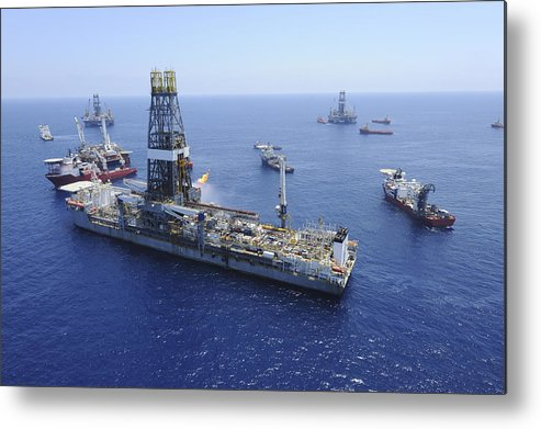 Drillship Metal Print featuring the photograph Flaring Operations Conducted by Stocktrek Images