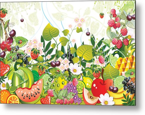 Fruits Metal Print featuring the digital art Fruit Garden by Lesley Smitheringale