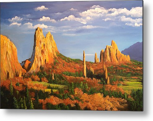 Connie Tom Metal Print featuring the painting Garden Of The Gods by Connie Tom