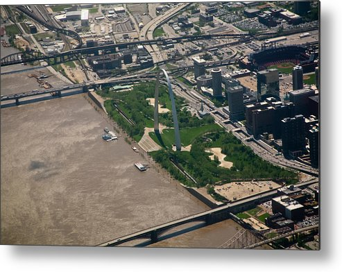 Gateway Arch Jefferson Memorial Park St. Louis Saint Downtown Flood Mississippi River Missouri Mo Barges Boats Flooding David Coblitz Metal Print featuring the photograph Gateway Arch During Flood Of 2011 by David Coblitz