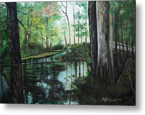 Landscape Metal Print featuring the painting Ginny Springs by Margaret Fortunato