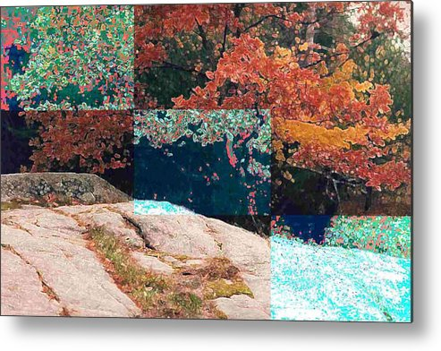 Landscape Metal Print featuring the photograph Granite Outcrop And Fall Leaves Aep3 by Lyle Crump