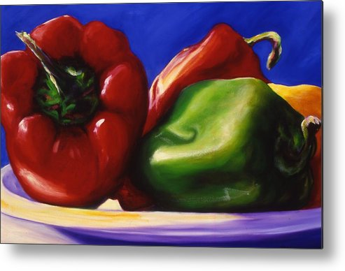 Still Life Metal Print featuring the painting Harvest Festival Peppers by Shannon Grissom