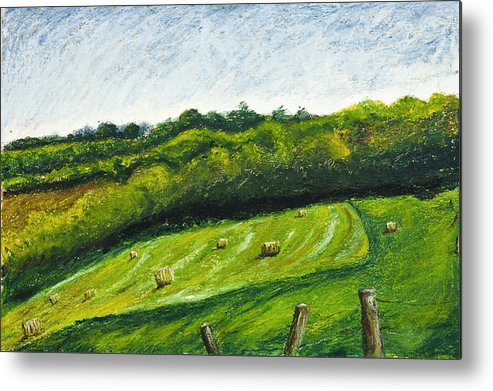 Landscape Metal Print featuring the painting Hayfield by Robert Sako