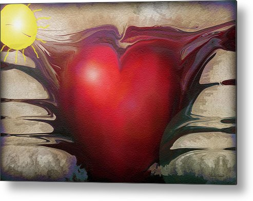 Abstracts Metal Print featuring the digital art Heart Of The Sunrise by Linda Sannuti