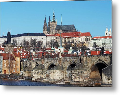 Rare Metal Print featuring the photograph Hradcany - Cathedral Of St Vitus And Charles Bridge by Michal Boubin