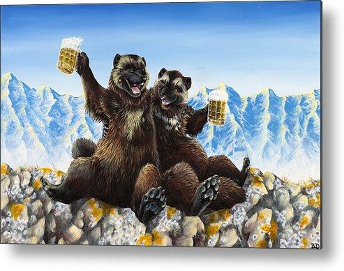 Wolverine Gulo Mountains Beer Drinking Stein Friends Friendship Nature Anthropomorphic Cartoon Animals Wildlife Metal Print featuring the painting I Love You Man by Beth Davies