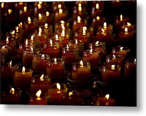Candles Metal Print featuring the photograph In Memory by Patricia Bolgosano