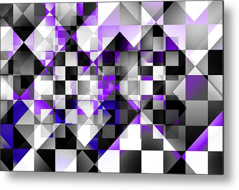 Abstract Metal Print featuring the digital art Indigo Facets by Gae Helton