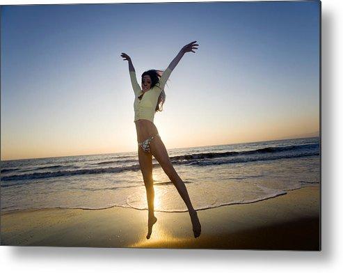 Ocean Metal Print featuring the photograph Jump - Beach by Brad Rickerby