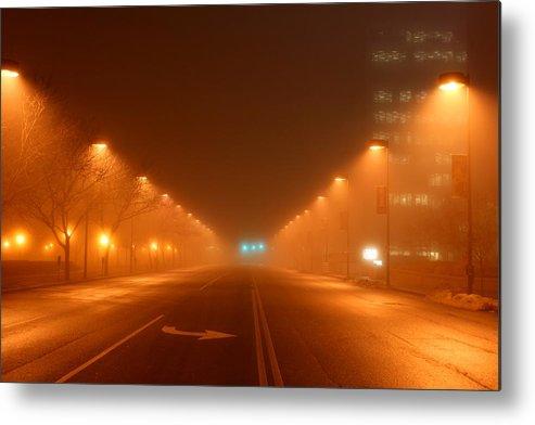 Kansas Metal Print featuring the photograph Kansas City Grand Avenue In Fog by David Dunham