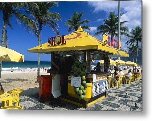 Atlantic Ocean Metal Print featuring the photograph Kiosk On Ipanema Beach by George Oze