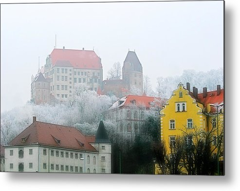 City Metal Print featuring the photograph Landshut Bavaria On A Foggy Day by Christine Till