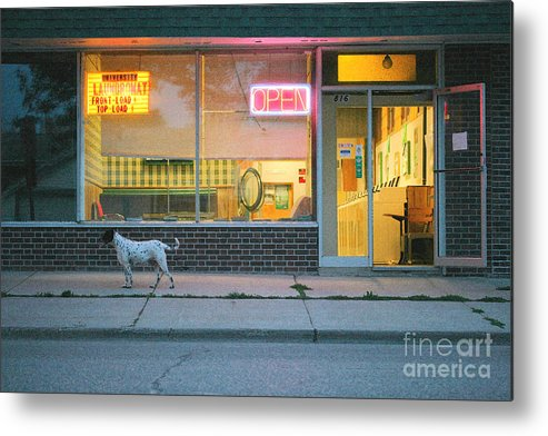 Dog Metal Print featuring the photograph Laundromat Open by Steve Augustin