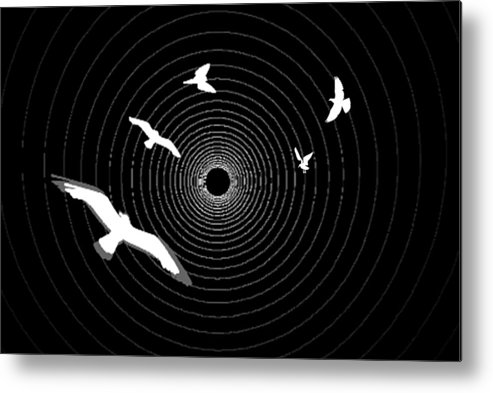 Light At The End Of The Tunnel William Ballester Print Best Canvas Frame Photoshop Photo Creation Circles Birds Black White Abstract Metal Print featuring the digital art Light At The End Of The Tunnel by William Ballester
