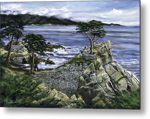 Lone Cypress Metal Print featuring the painting Lone Cypress by Lisa Reinhardt