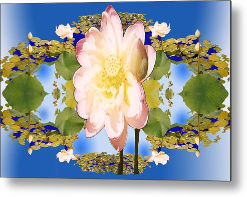 White Flower Metal Print featuring the digital art Lotus Mandala In Blue by Pederbeck Arte Gruppe