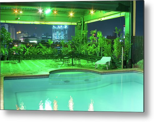 Insogna Metal Print featuring the photograph Mango Park Hotel Roof Top Pool by James BO Insogna