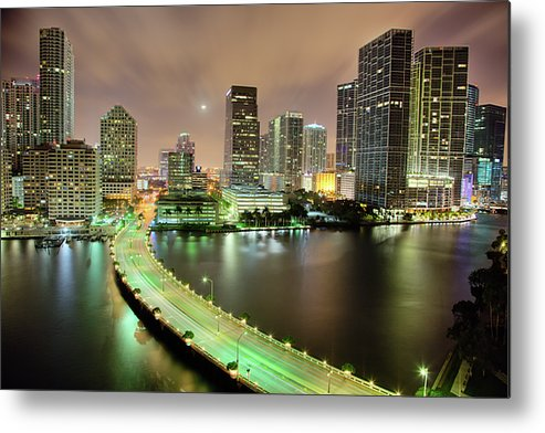 Horizontal Metal Print featuring the photograph Miami Skyline At Night by Steve Whiston - Fallen Log Photography