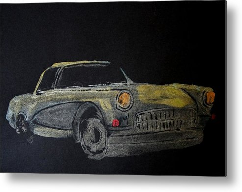 Car Metal Print featuring the painting Midnight Rider by Ana Bikic