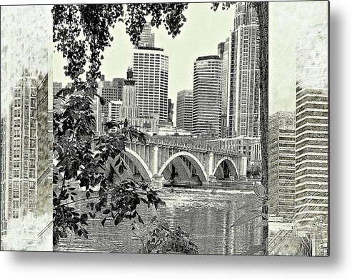 Abstract Metal Print featuring the digital art Minneapolis Vision by Susan Stone