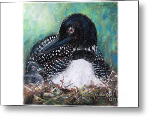 Kleinschmidt Metal Print featuring the painting Mother Nature And The Loon by Jane Kleinschmidt