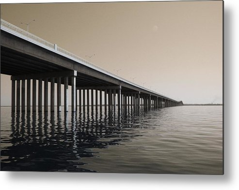 Water Metal Print featuring the photograph Mprints - Hwy 90 Bridge by M Stuart