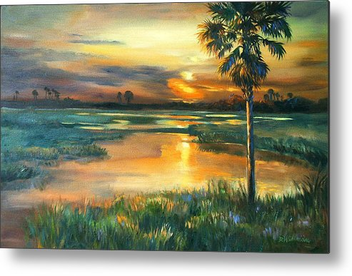 Painting Metal Print featuring the painting Night Descends by Dianna Willman