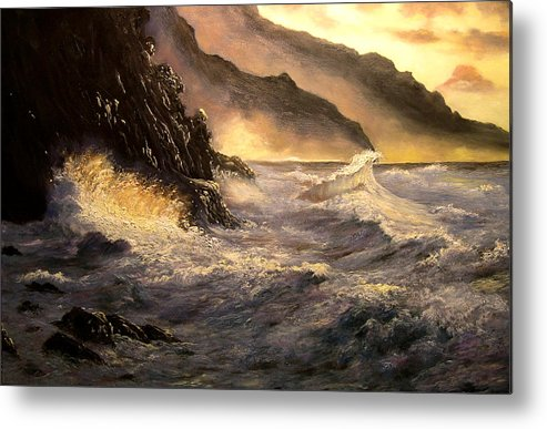 Connie Tom Metal Print featuring the painting Ocean Waves by Connie Tom