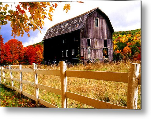 Rural Metal Print featuring the photograph Old Barn In Autumn by Roger Soule